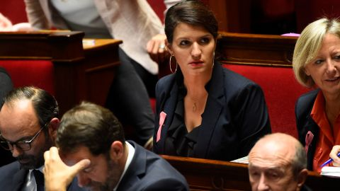 France's minister for gender equality, Marlene Schiappa (center), wants to ban catcalling.