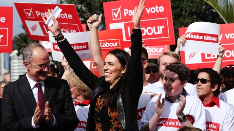 AUCKLAND, NEW ZEALAND - AUGUST 06:  Jacinda Ardern thanks her supporters ahead of announcing Labour's Auckland Transport Plan on August 6, 2017 in Auckland, New Zealand. Jacinda Ardern was elected unopposed as new Labour leader on Tuesday, 1 August following Andrew Little's resignation just seven weeks out from the general election. Kelvin Davis was elected as deputy leader.  (Photo by Hannah Peters/Getty Images)
