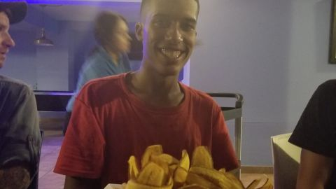 Christopher Rodrigez celebrated his birthday with a big platter of fried bananas and seafood.