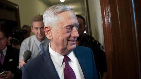 U.S. Defense Secretary James Mattis arrives on Capitol Hill to meet with Senators John McCain (R-AZ) and Lindsey Graham (R-SC), October 20, 2017 in Washington, DC. (Drew Angerer/Getty Images)