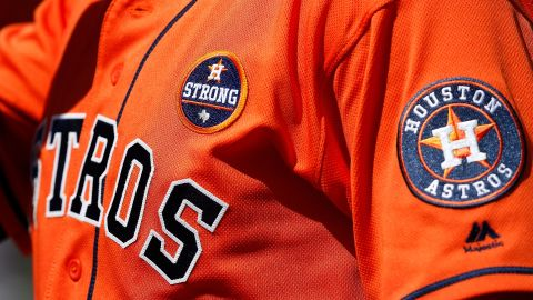 """The """"Houston Strong"""" patch on the Astros' uniforms, worn as a gesture for Harvey's victims."""