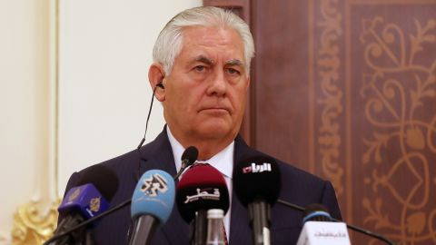 US Secretary of State Rex Tillerson holds a press conference with the Qatari foreign minister in the capital Doha on October 22, 2017.