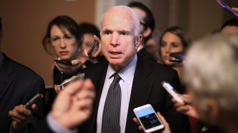 WASHINGTON, DC - JULY 13:  Sen. John McCain (R-AZ) leaves a meeting where a new version of a GOP healthcare bill was unveiled to Republican senators at the U.S. Capitol July 13, 2017 in Washington, DC. The latest version of the proposed bill aims to repeal and replace the Affordable Care Act, also knows as Obamacare.  (Photo by Chip Somodevilla/Getty Images)