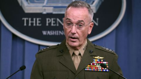 ARLINGTON, VA - OCTOBER 23:  Gen. Joseph Dunford Jr. Chairman of the Joint Chiefs of Staff, briefs the media on the recent military operations in Niger, at the Pentagon on October 23, 2017 in Arlington, VA. (Mark Wilson/Getty Images)