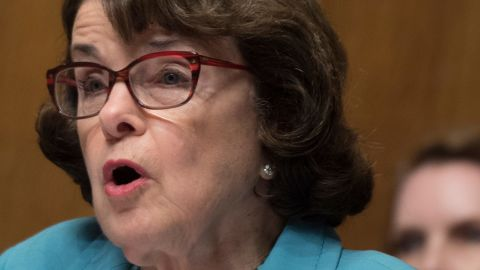 US Senator and Ranking Member Dianne Feinstein, D-California, questions FBI Director James Comey as he testifies before the Senate Judiciary Committee on Capitol Hill in Washington, DC, May 3, 2017. / AFP PHOTO / JIM WATSON        (Photo credit should read JIM WATSON/AFP/Getty Images)