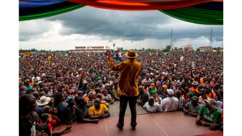 Kenya's opposition leader Raila Odinga at a political rally in Kisumu last Friday.