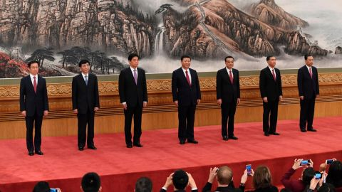China's current Politburo Standing Committee, the nation's top decision-making body ,was revealed at the Great Hall of the People in Beijing on October 25, 2017.