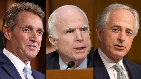 Sen. Jeff Flake, Sen. John McCain, and Sen. Bob Corker