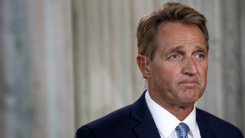 WASHINGTON, DC - OCTOBER 24:  Sen. Jeff Flake (R-AZ) speaks to reporters on Capitol Hill after announcing he will not seek re-election October 24, 2017 in Washington, DC.
