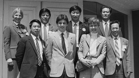 Xi -- in the back row, second from right -- poses with a group in Muscatine, Iowa, in 1985. As part of an agricultural delegation, he was making his first trip to the United States.