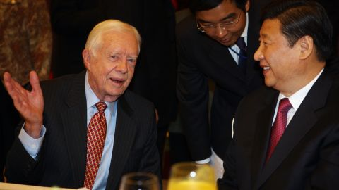 Xi chats with former US President Jimmy Carter in 2009. Carter was attending a Beijing dinner that celebrated 30 years of US-China relations.