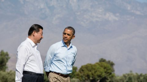 Xi became China's President in March 2013. Here, he walks with US President Barack Obama before a bilateral meeting in Rancho Mirage, California, in June 2013.