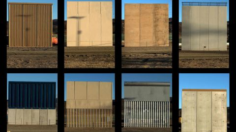 This combination of pictures shows the eight prototypes of US President Donald Trump's US-Mexico border wall being built near San Diego, in the US, seen from across the border from Tijuana, Mexico, on October 22, 2017.  Following up on President Donald Trump's campaign promise to build a wall along the entire 3,200 kilometre (2,000 mile) Mexican frontier, the Department of Homeland Security began building prototypes for the barrier along the border in San Diego and Imperial counties, as it announced in August. / AFP PHOTO / GUILLERMO ARIASGUILLERMO ARIAS/AFP/Getty Images