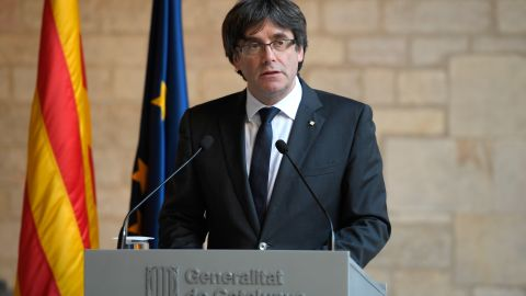 Carles Puigdemont making a statement in Barcelona last week.