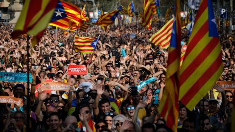 Supporters of independence gather outside the Catalan Parliament in Barcelona.