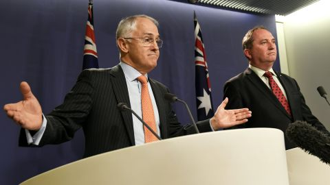 Australia's Prime Minister Malcolm Turnbull and then Deputy Prime Minister Barnaby Joyce address the media in Sydney in July  2016.