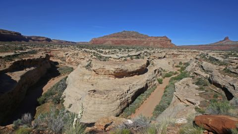 Sandstone formations are shown here on the western edge of the Bears Ears National Monument  on May 11, 2017 outside Blanding, Utah.