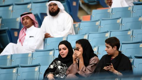 For the first time ever, Saudi women participated in celebrations in Riyadh's stadium of the kingdom's founding in September.