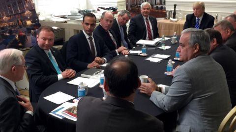 George Papadopoulos, pictured second from the left in March 2016 in a National Security Meeting with President Donald Trump, far right.