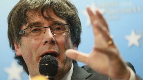 epa06299536 Dismissed Catalan regional President Carles Puigdemont gives a statement during a press conference at Press club in Brussels, Belgium, 31 October 2017. Puigdemont was dismissed from the post after Spanish Government implemented the Spanish Constitution's article 155 in response to the Catalan Parliament's vote in favor of declaring independence. On 30 October Spanish Attorney-General's office has filed a complaint against dismissed Catalonian regional President, Carles Puigdemont, and his Cabinet for the alleged offenses of rebellion, sedition and embezzlement before Audiencia Nacional Court.  EPA-EFE/OLIVIER HOSLET