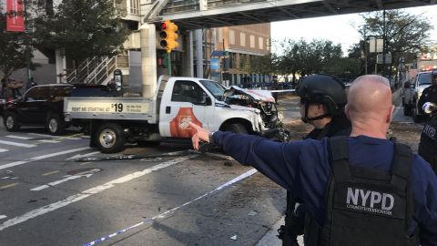 The driver of the truck drove the wrong way down the West Side Highway bike path for several blocks, according to two senior law enforcement sources at the New York Police Department. After striking multiple people, the driver hit a school bus and wrecked the truck, an NYPD official said.