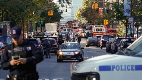 NEW YORK, NY - OCTOBER 31: NYPD officers respond after reports of multiple people hit by a truck after it plowed through a bike path in lower Manhattan on October 31, 2017 in New York City. According to reports up to six people may have been killed. (Photo by Kena Betancur/Getty Images)