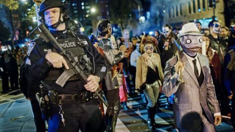 The New York Halloween parade went on Tuesday despite the attack in another part of town.