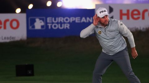 NEWCASTLE UPON TYNE, ENGLAND - SEPTEMBER 26:  Lee Westwood of England celebrates holing a putt on his way to victory in the Hero Challenge 2017 prior to the start of the British Masters at Close House Golf Club on September 26, 2017 in Newcastle upon Tyne, England.  (Photo by Andrew Redington/Getty Images)