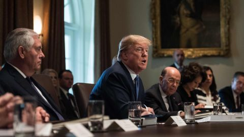 US President Donald Trump speaks during a cabinet meeting at the White House in Washington, DC, on November 1, 2017. (NICHOLAS KAMM/AFP/Getty Images)