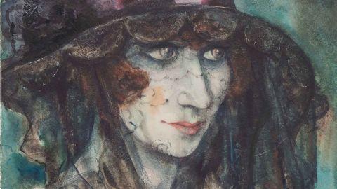 Otto Griebel (1895--1972), Die Verschleierte (The veiled figure), 1926, gouache on vellum paper. Bequest of Cornelius Gurlitt 2014, provenance under review.