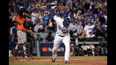 Puig reacts after flying out in the third inning.