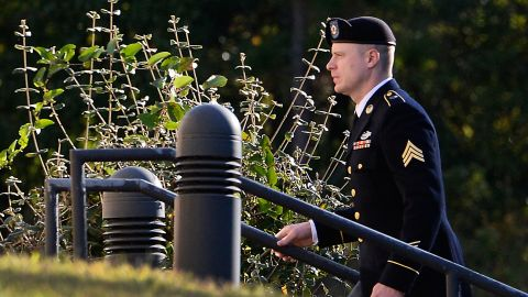 """FU.S. Army Sgt. Robert Bowdrie """"Bowe"""" Bergdahl, 31 of Hailey, Idaho, enters the the Ft. Bragg military courthouse for his sentencing hearing on October 25, 2017 in Ft. Bragg, North Carolina. Bergdahl pled guilty to desertion and misbehavior before the enemy stemming from his decision to leave his outpost in 2009, which landed him five years in Taliban captivity."""