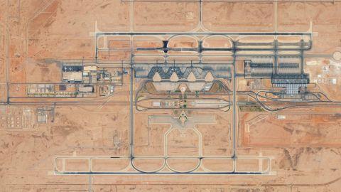 KING KHALID INTERNATIONAL AIRPORT, RIYADH, SAUDI ARABIA - AUGUST 24, 2017:  DigitalGlobe Satellite Imagery of King Khalid International Airport in Riyadh, Saudi Arabia.  (Photo DigitalGlobe via Getty Images)