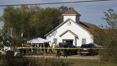 """Investigators at the scene of a mass shooting at the First Baptist Church in Sutherland Springs, Texas, on Sunday, November 5, 2017. <a href=""""http://www.cnn.com/2017/11/06/us/devin-kelley-texas-church-shooting-suspect/index.html"""" target=""""_blank"""">A man opened fire inside the small community church,</a> killing at least 25 people and an unborn child. The gunman, 26-year-old Devin Patrick Kelley, was found dead in his vehicle. He was shot in the leg and torso by an armed citizen, and he had a self-inflicted gunshot to the head, authorities said."""