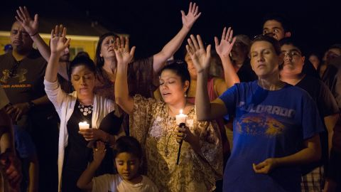 A candlelight vigil was held after the shooting at First Baptist Church in Sutherland Springs, Texas.