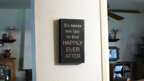 A sign that hangs in Deborah Giannecchini's house. Giannecchini has ovarian cancer.