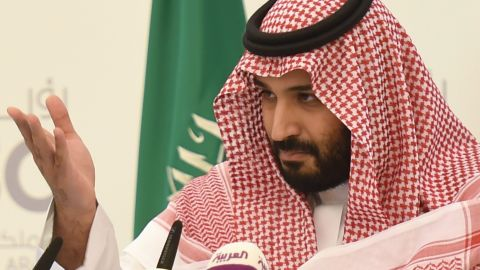 """Saudi Defense Minister and Deputy Crown Prince Mohammed bin Salman gestures during a press conference in Riyadh, on April 25, 2016. The key figure behind the unveiling of a vast plan to restructure the kingdom's oil-dependent economy, the son of King Salman has risen to among Saudi Arabia's most influential figures since being named second-in-line to the throne in 2015. Salman announced his economic reform plan known as """"Vision 2030"""".  / AFP / FAYEZ NURELDINE        (Photo credit should read FAYEZ NURELDINE/AFP/Getty Images)"""