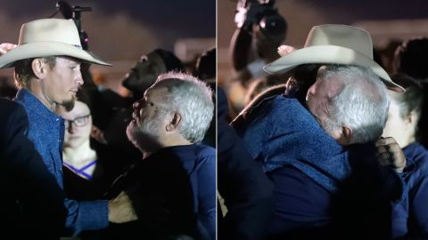 Photo Illustration. Original caption: Stephen Willeford, right, hugs Johnnie Langendorff during a vigil for the victims of the First Baptist Church shooting Monday, Nov. 6, 2017, in Sutherland Springs, Texas. Willeford shot the suspect and Langendorff drove the truck while chasing Devin Patrick Kelley. Kelley opened fire inside the church in the small South Texas community on Sunday, killing more than two dozen and injuring others. (AP Photo/David J. Phillip)
