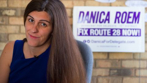 Danica Roem, a Democrat for Delegate in Virginia's district 13, and who is transgender, sits in her campaign office on September 22, 2017, in Manassas, Virginia.