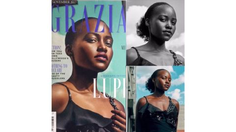 Lupita Nyong'o posted the Grazia UK cover photo as well as before and after shots to social media.