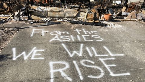 A message of resilience is  painted on a street in the Coffey Park subdivision of Santa Rosa.