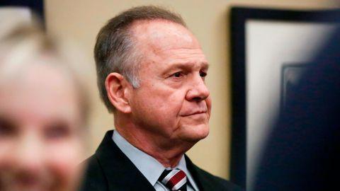 Former Alabama Chief Justice and U.S. Senate candidate Roy Moore waits to speak the Vestavia Hills Public library, Saturday, November 11, in Birmingham, Alabama.
