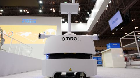 Omron's artificial intelligence (AI) Automatic Transportation Mobile Robot at  CEATEC.