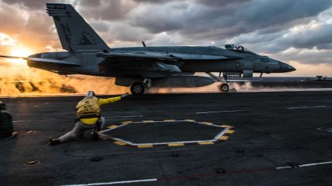 An F/A-18E Super Hornet launches from the flight deck of the USS Ronald Reagan.