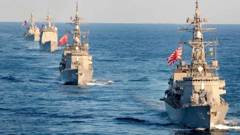 The Japanese Maritime Self-Defense Force warships join in the Pacific exercises.