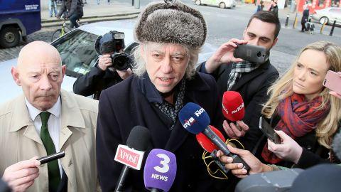 Geldof arrives at Dublin City Hall to return his award Monday.