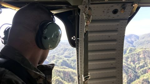 Lieutenant General Jeffrey Buchanan looks down on Puerto Rico on the last day of his deployment.