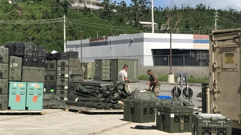 Troops pack up a field hospital in Humacao, Puerto Rico, at the end of their mission there.