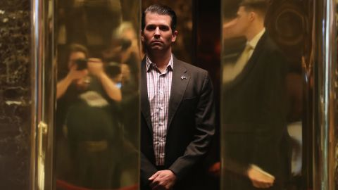 NEW YORK, NY - JANUARY 18:  Donald Trump Jr. arrives at Trump Tower on January 18, 2017 in New York City. President-elect Donald Trump is to be sworn in as the 45th President of the United States on January 20.  (Photo by John Moore/Getty Images)