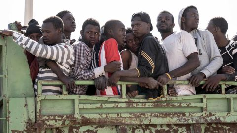 Illegal immigrants being transported to a Libyan detention center in June